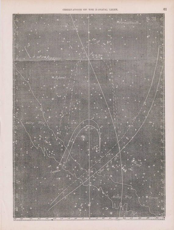 Antique Star Chart  Astronomy Print Zodiacal Light  The Stars