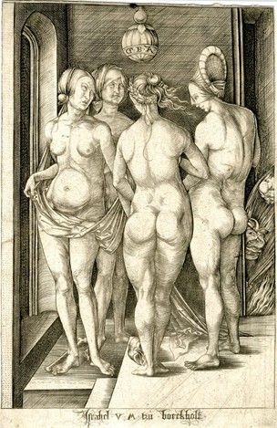 The Four Witches Reverse Copy After Durer Meder 69 With Four
