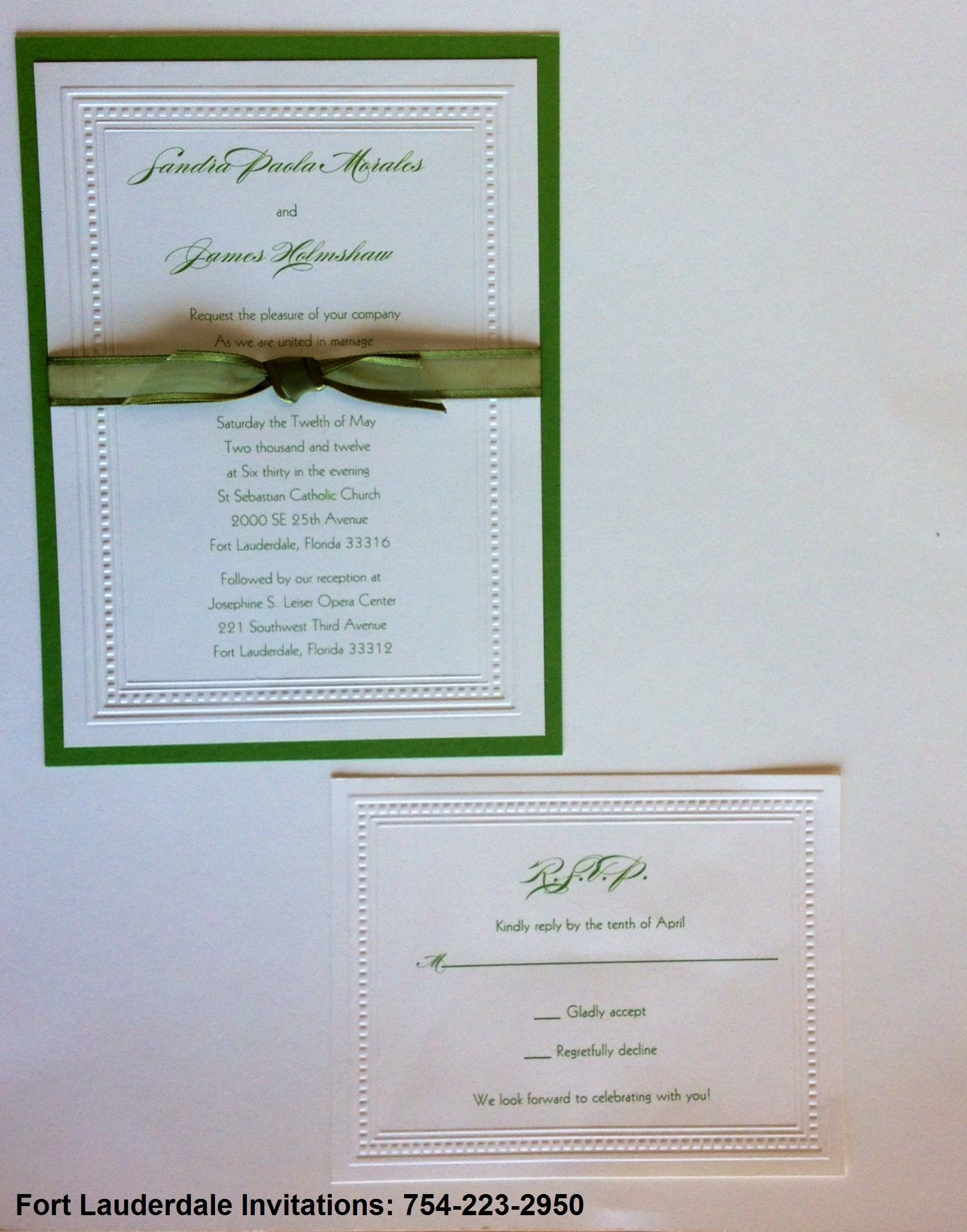 Green And White Classic Invitation Suite
