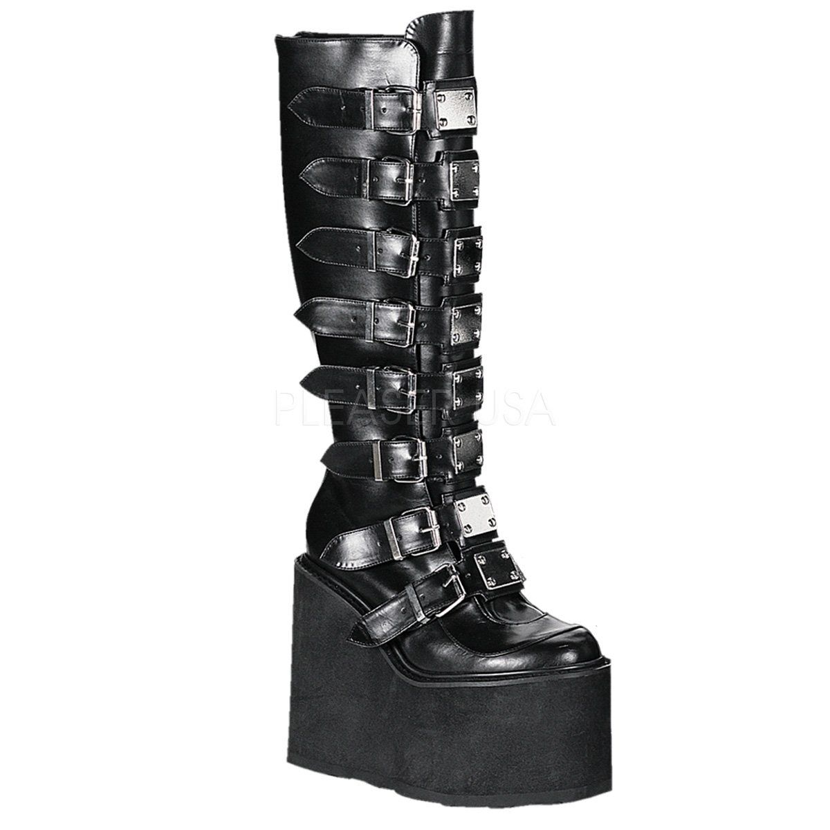 Gothic Goth Punk Platform Mid-Calf Cone Studded Buckles Straps Patent Boots