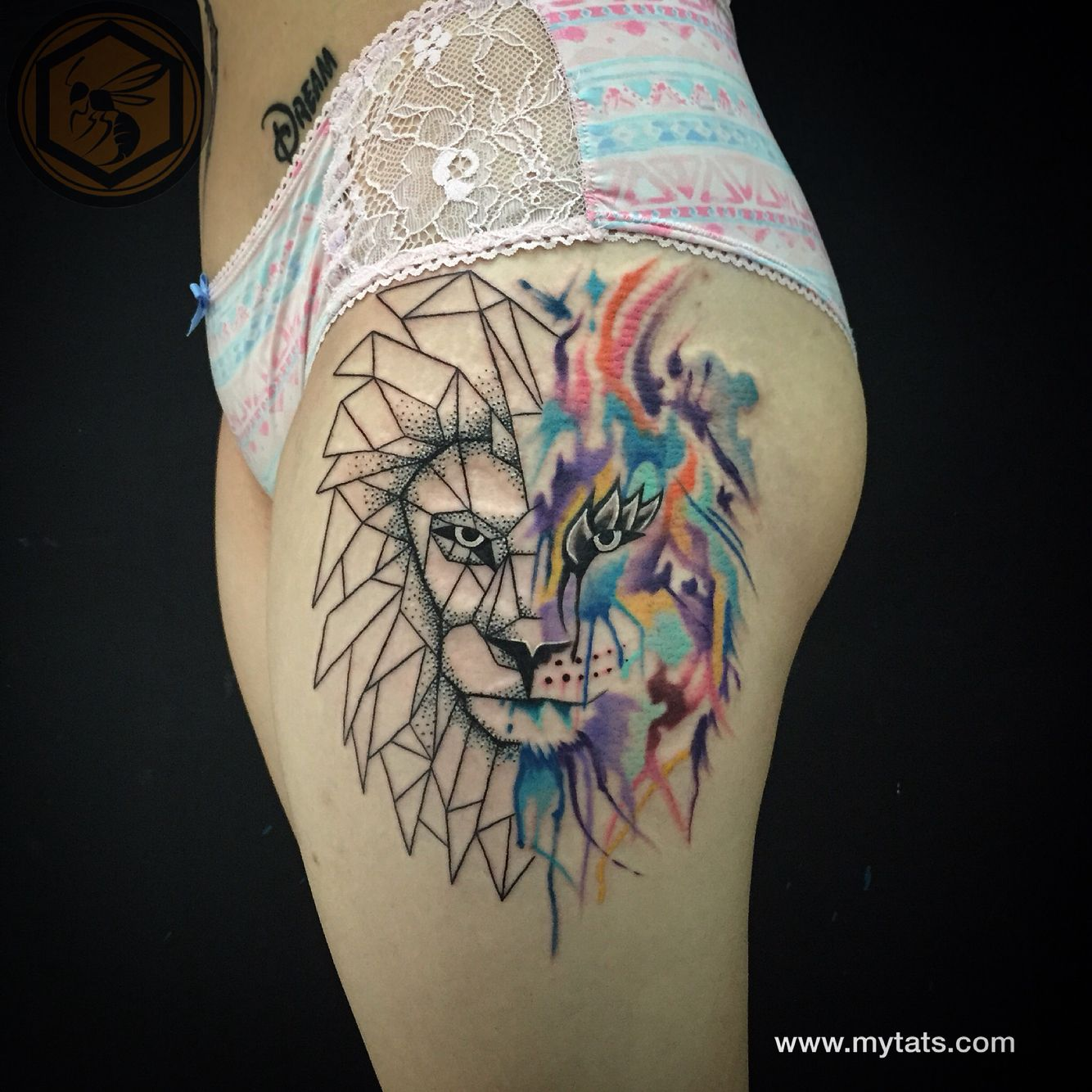 geometric watercolor lion tattoo tattoos pinterest. Black Bedroom Furniture Sets. Home Design Ideas