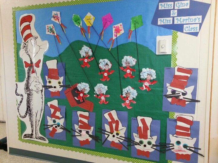 Cat In The Hat Theme Bulletin Board Preschool Bulletin Preschool Bulletin Boards Education Preschool