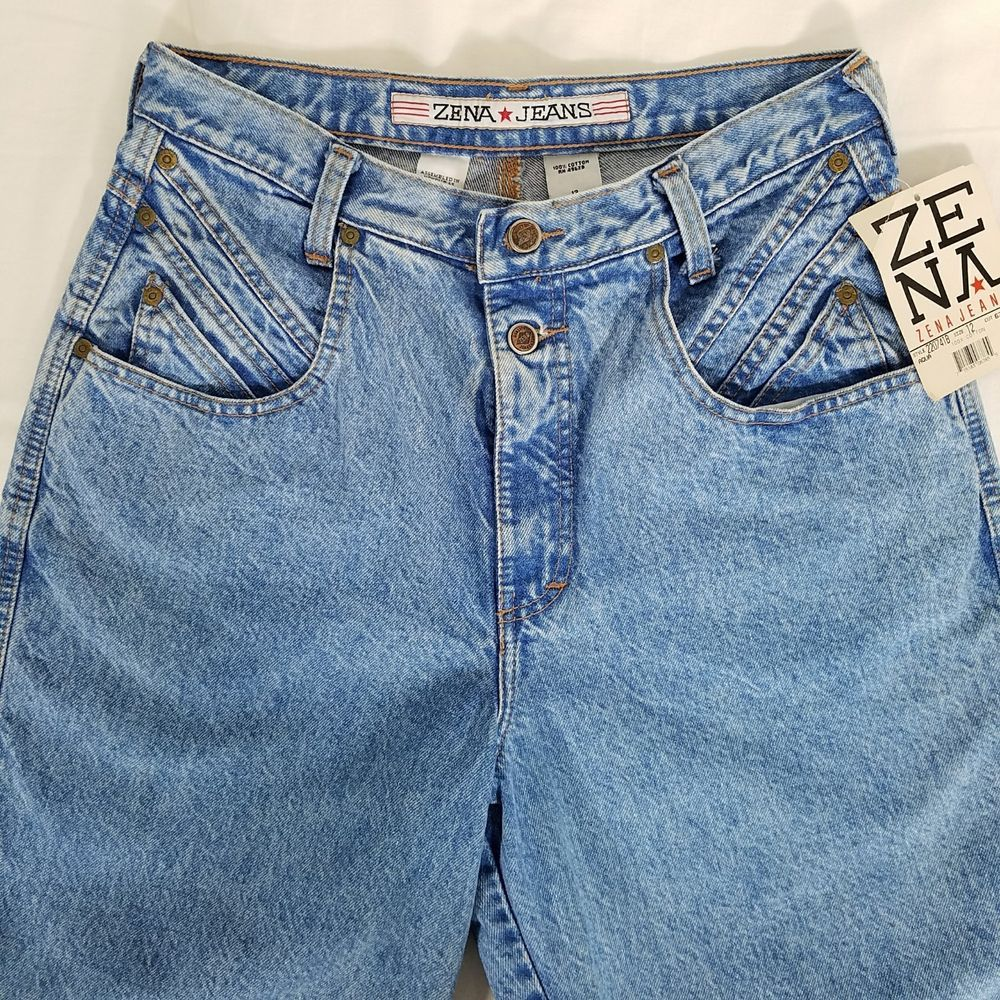 7543e879bb304 Zena Jeans Vintage Sz 12 High Waisted Mom Jeans 80s Denim Tapered Leg with  Tags  Zena  Tapered