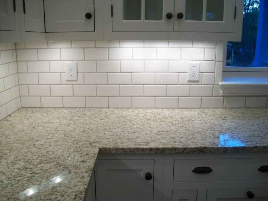 Delightful White Color Subway Tile Kitchen Backsplash With White