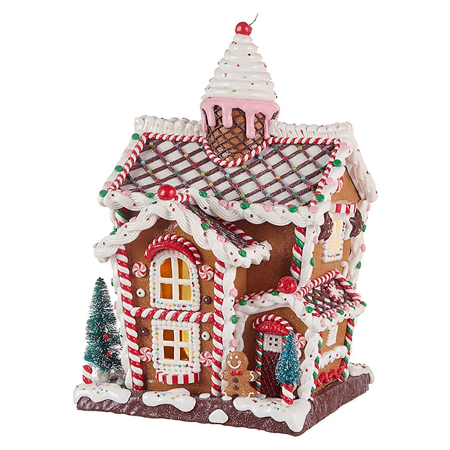 14Inch Whimsical Lighted Ice Cream Gingerbread House