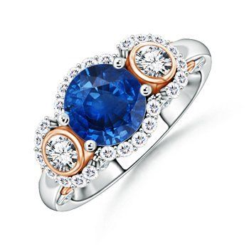 Angara Three Stone Sapphire and Diamond Halo Ring in Two Tone fgZpuAcZW