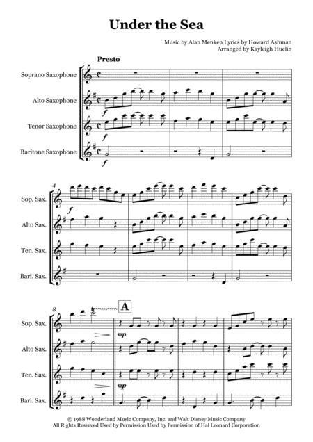 Under The Sea - Saxophone quartet (SATB) Sheet Music DOWNLOAD