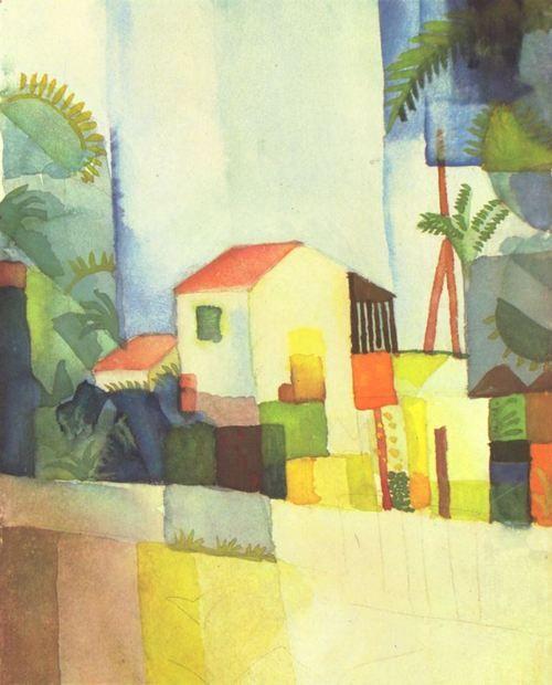 August Macke Helles Haus 1914 Aquarell 20 26 Cm Kunstlergruppe Der Blaue Reiter Landschaftsmalerei Deutschland Kunst Ideen Idee Farbe August Macke