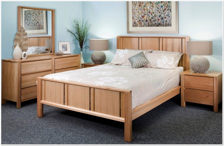 Http Interiorpatio Wp Content Uploads 2017 11 Bedroom Modern Furniture Of Oak Bed Frame Designed With Headboard And Cream Ed Shee