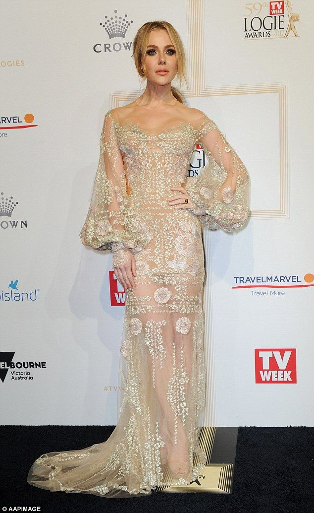 Jessica Marais Flashes Skin In A See Through Beige Gown Nice