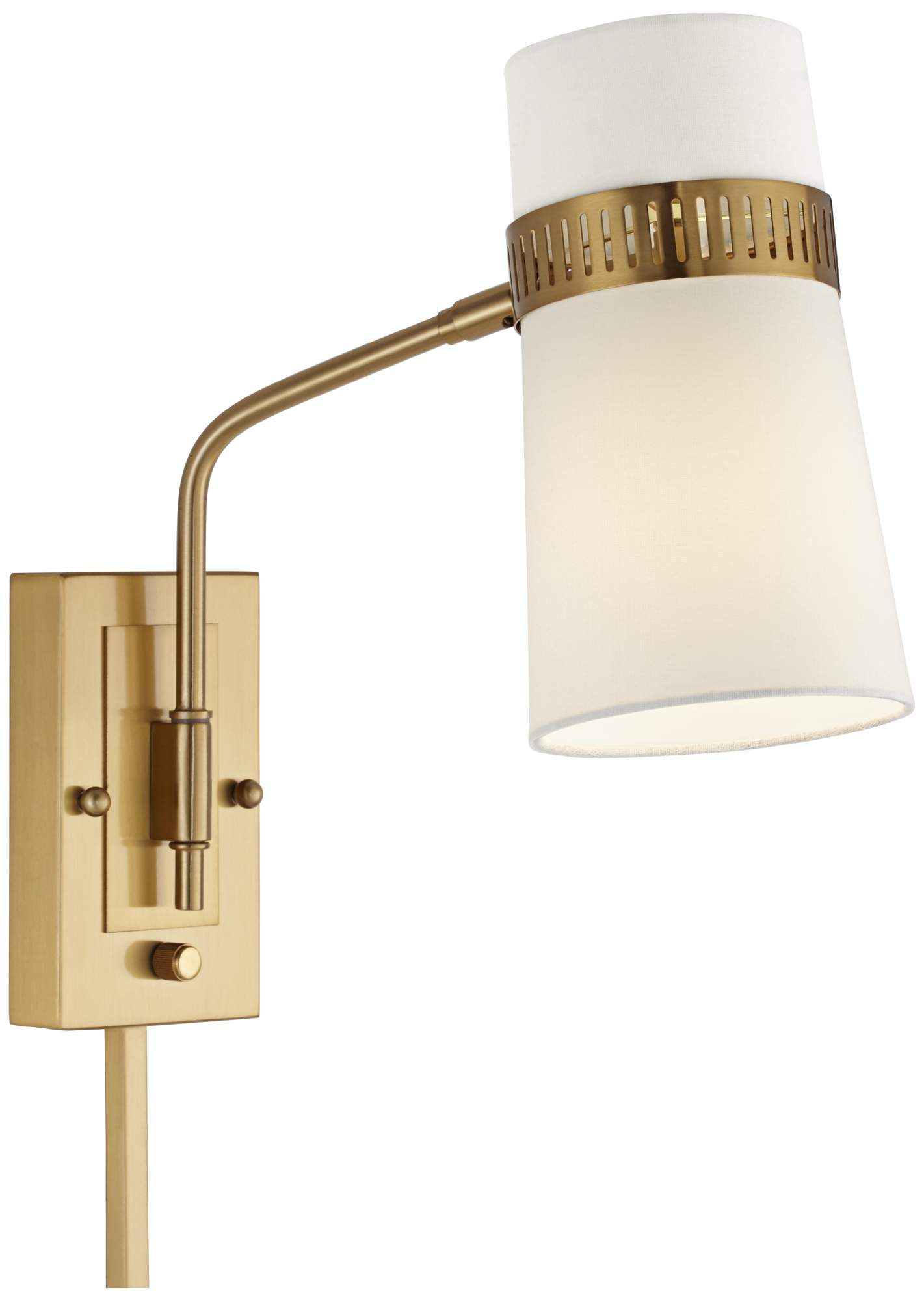 Cartwright Warm Antique Brass Plug In Wall Lamp 9f152 Lamps Plus Plug In Wall Lamp Wall Lamp Plug In Wall Sconce