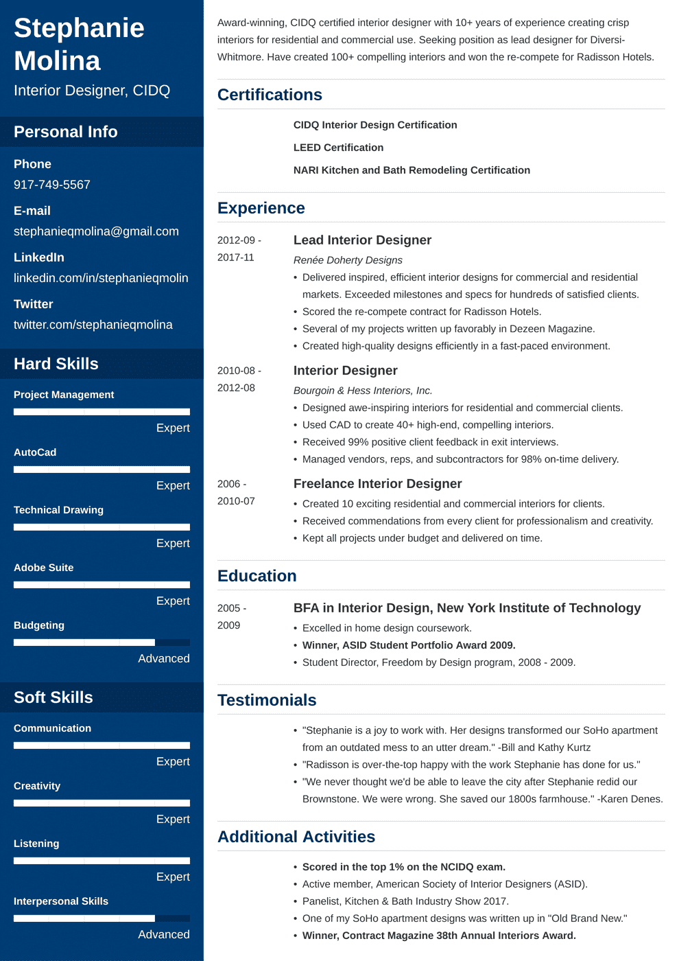 interior design resume template cascade in 2020 Resume