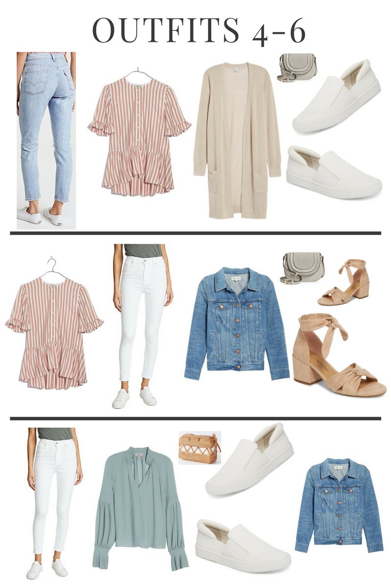 Sharing my ideal spring capsule wardrobe with only 21 pieces. Mix and Match outfit