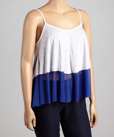 Loving this Royal & White Color Block Tank - Plus on #zulily! #zulilyfinds