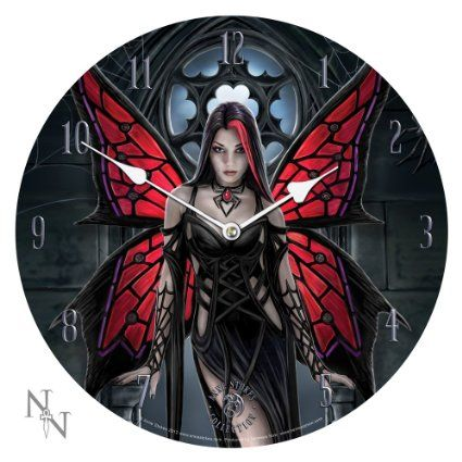 """13.5"""" Anne Stokes Collection Aracnafaria - Gothic Spider Fairy Fantasy Art Wall Clock By Anne Stokes"""