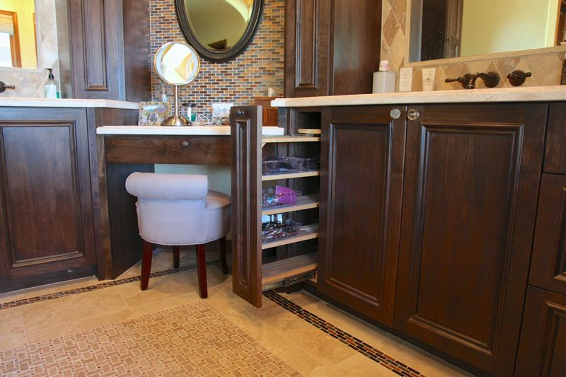 Bathroom Vanities With Corner Makeup Area Nice Accessory Pull Out For Make Up Products Hair