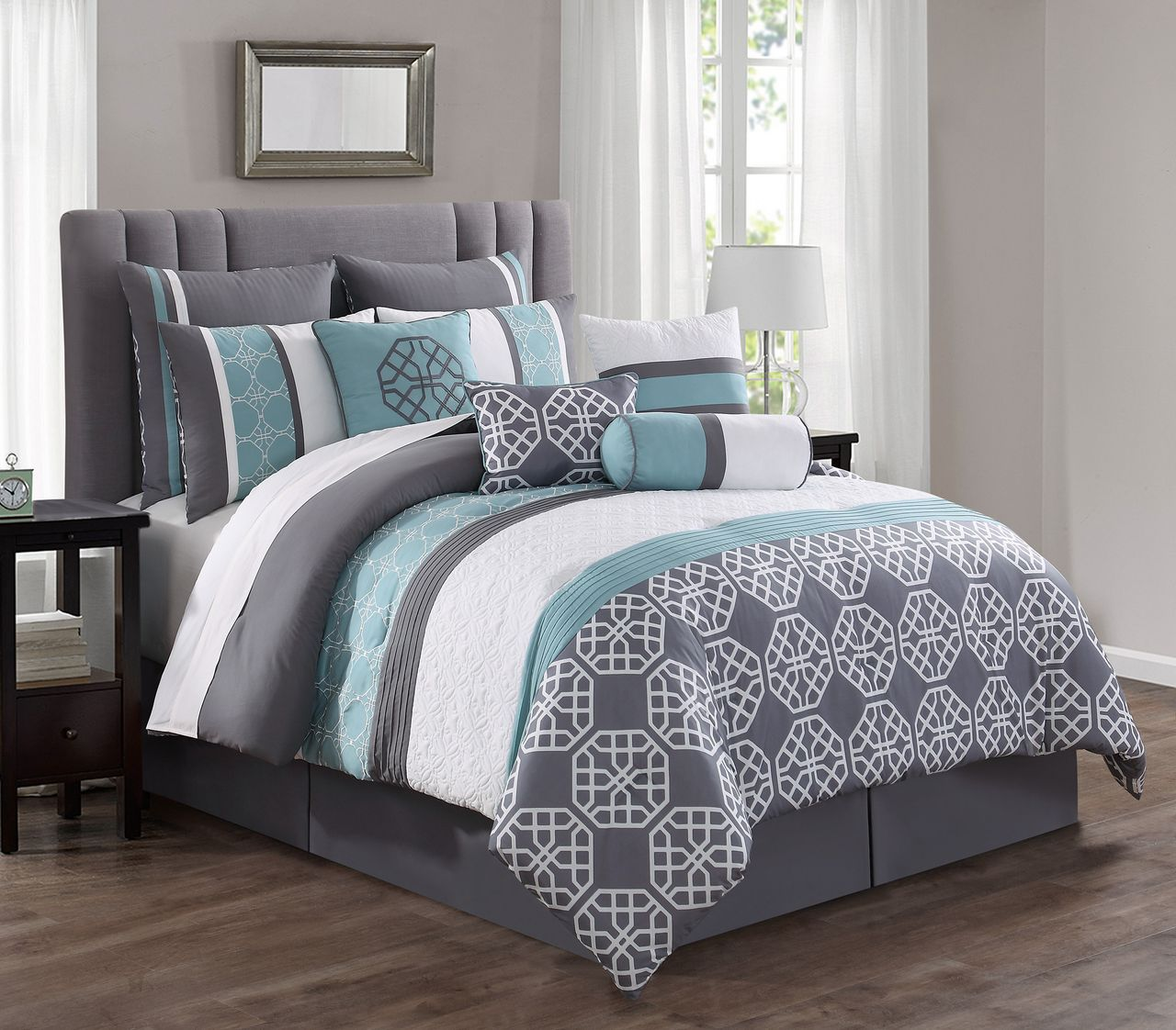 Best 14 Piece Aubrey Spa Gray White Reversible Bed In A Bag Set 400 x 300