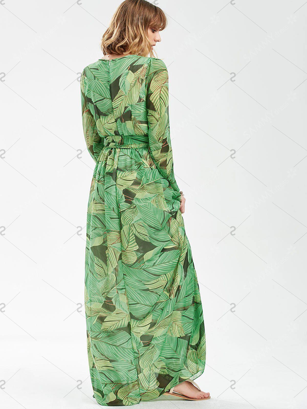 Tropical print long sleeve floor length dress in green sammydress