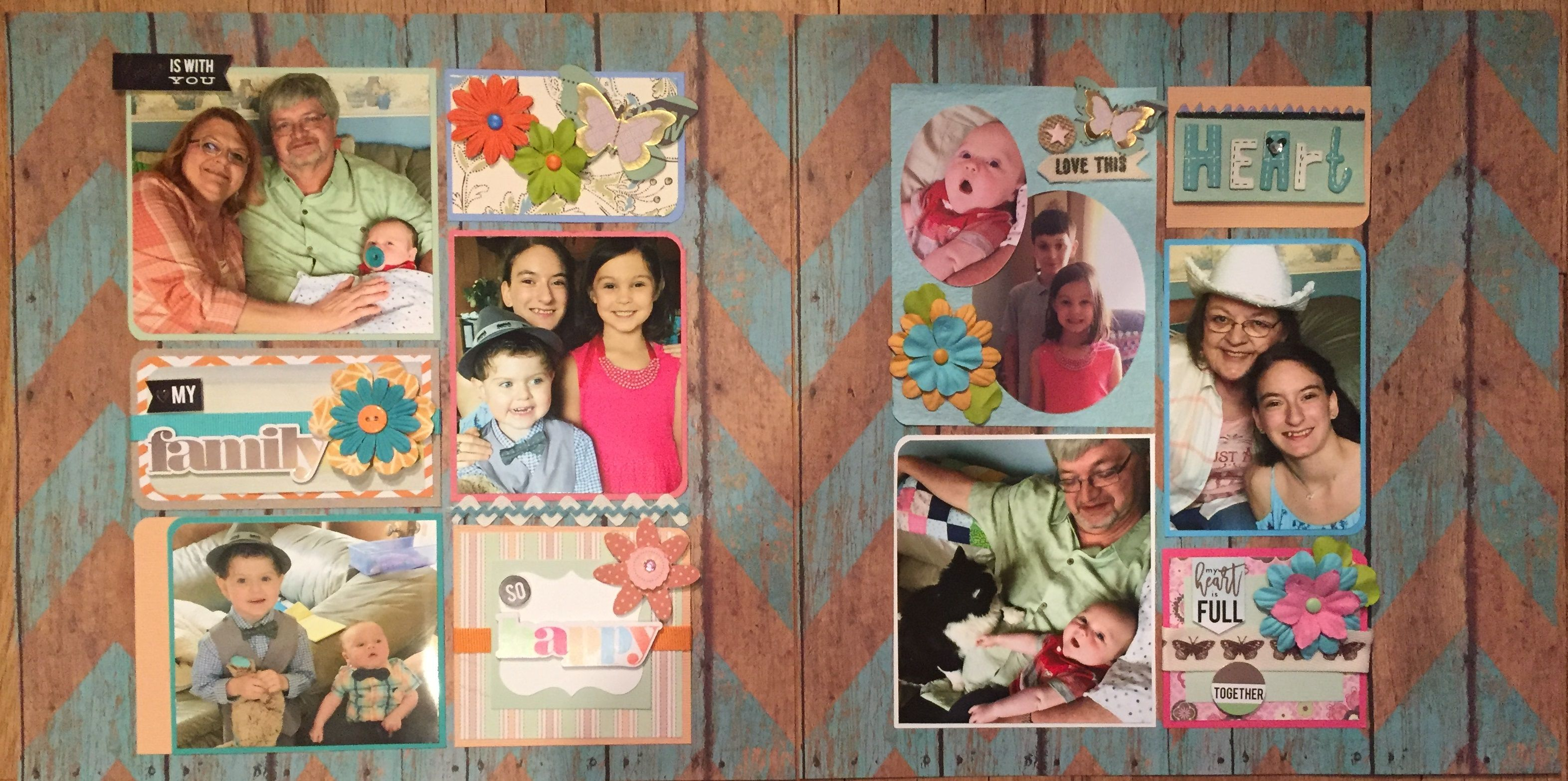Easter at Home family multiple photo chevron scrapbook