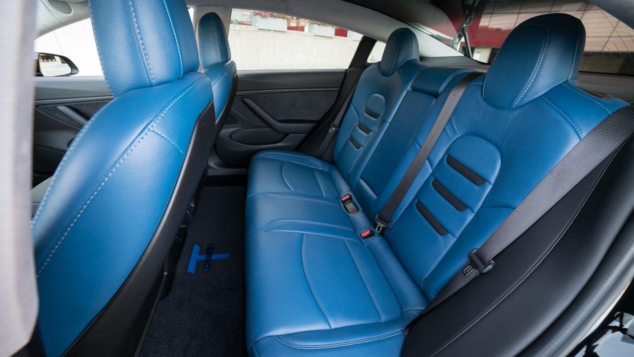 tesla model 3 custom blue leather interior with insignia tesla model 3 custom leather seat. Black Bedroom Furniture Sets. Home Design Ideas