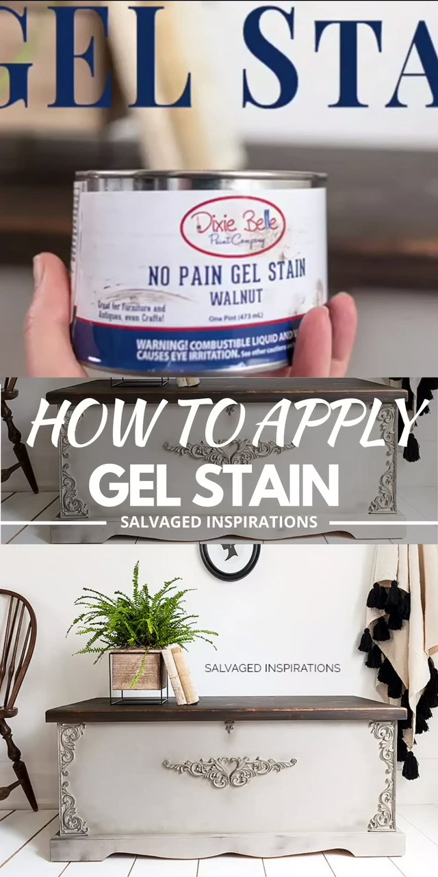 Today is all about How To Apply Gel Stains and why I MUCH prefer it over traditional stains. Gel stain makes it easy to transform your dated furniture (or old cupboards) with an existing factory finish.  It also works amazingly well on hard to stain raw woods like aspen, maple or pine. #siblog #salvagedinspirations #diyfurniture #stainingfurniture #furniturestain #gelstain #dixiebellepaint #nopaingelstain #chestmakeover