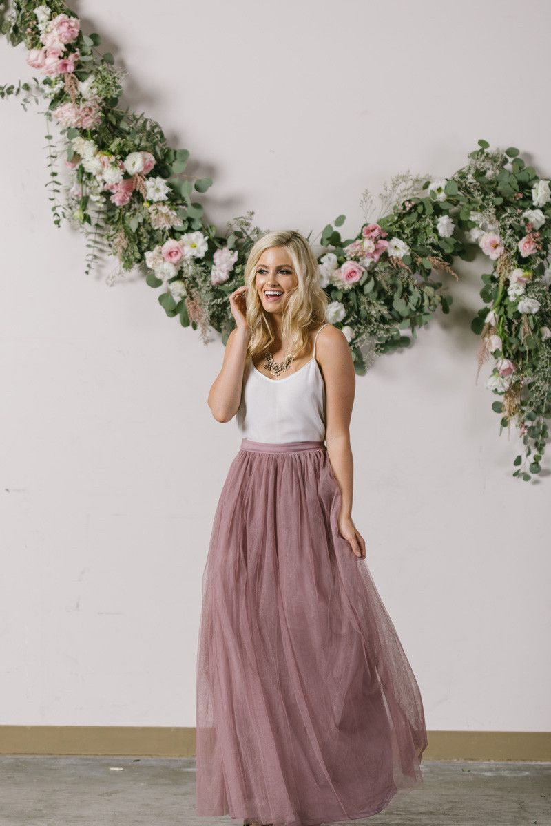 Anabelle Mauve Tulle Maxi Skirt | Gray