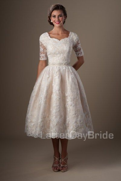 Ivory Lace Tea Length Dress