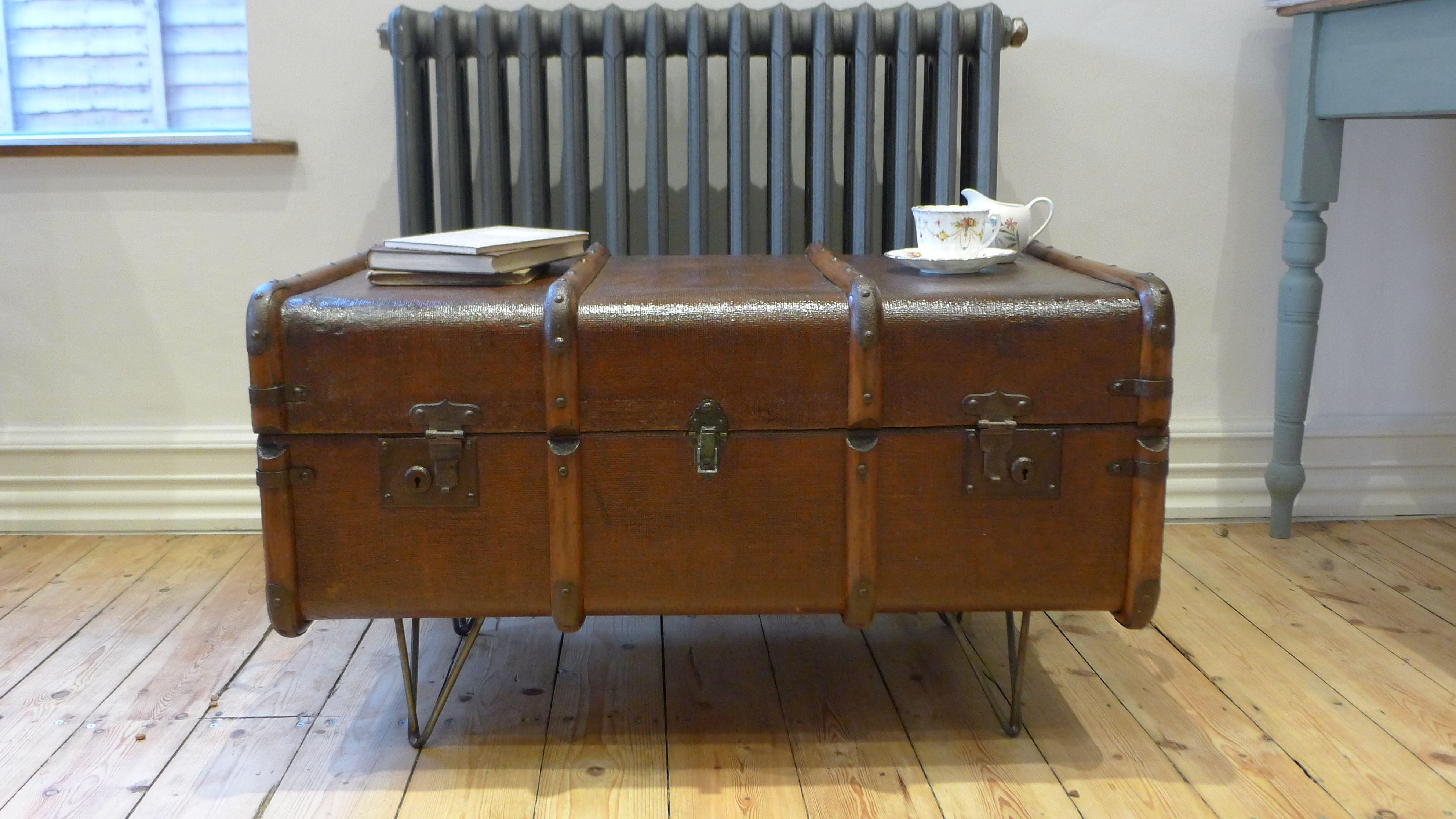 Astonishing 1930S Steamer Trunk Coffee Table On Hairpin Legs Steamer Evergreenethics Interior Chair Design Evergreenethicsorg