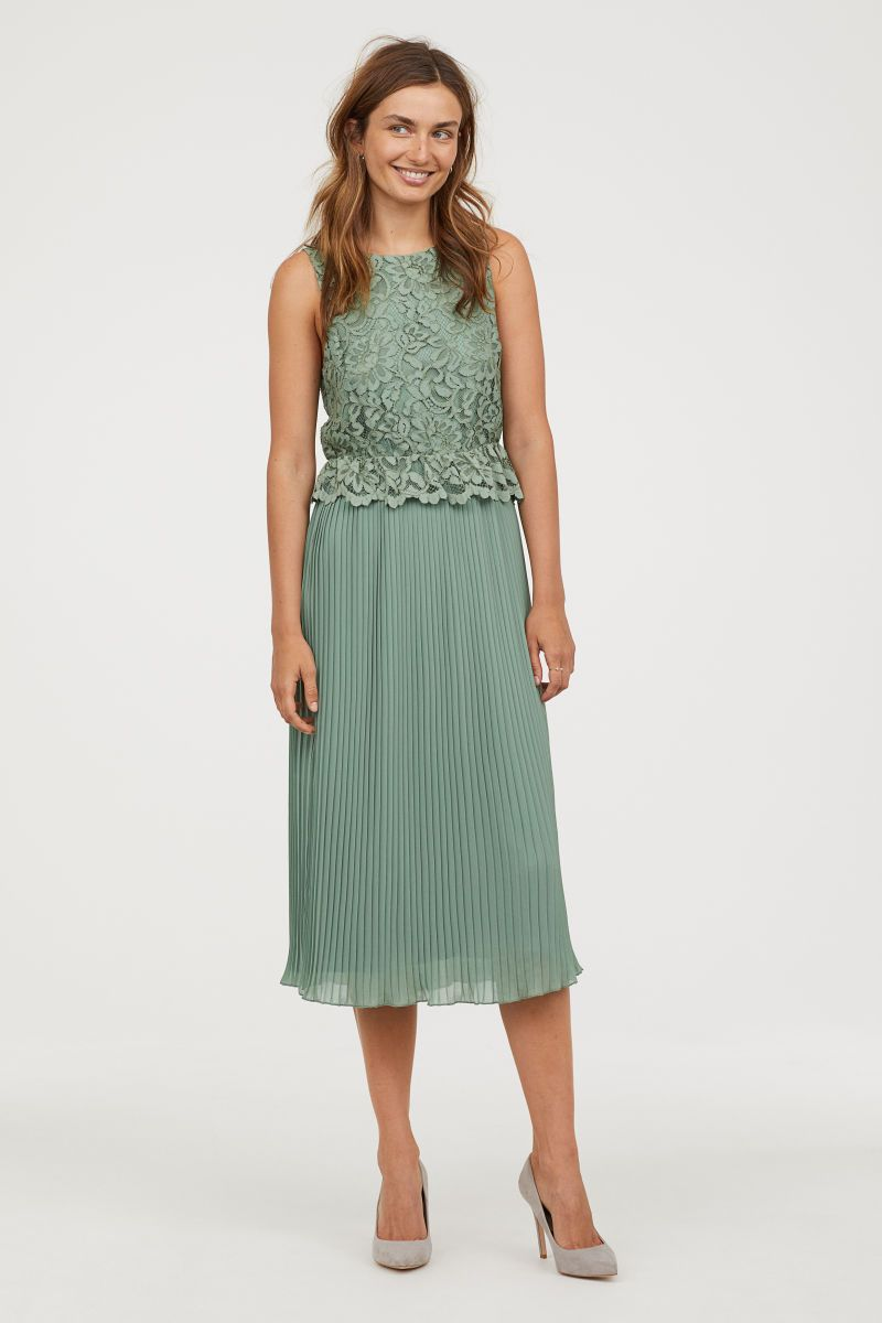 plissiertes spitzenkleid | mattgrün | damen | h&m de