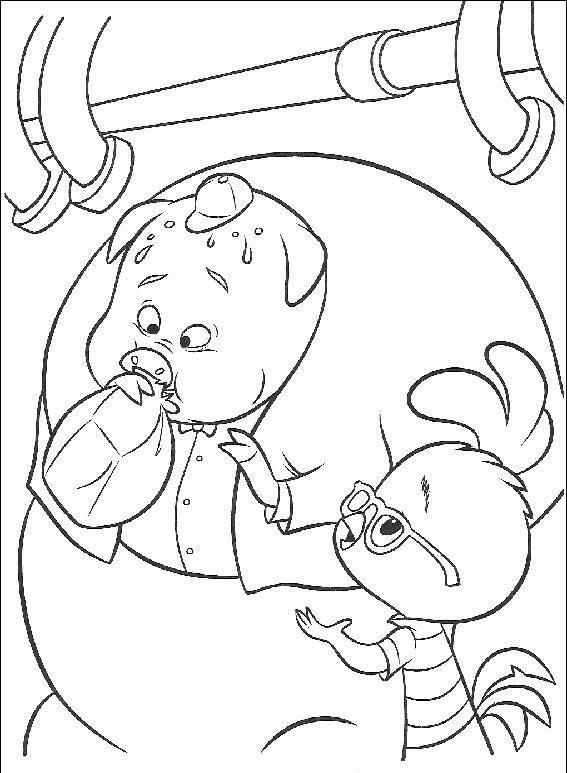 Chicken Little and Pig Blowing Up Balloons Coloring Page