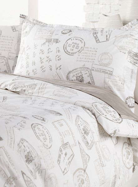 Travel Stamps Duvet Cover Set With