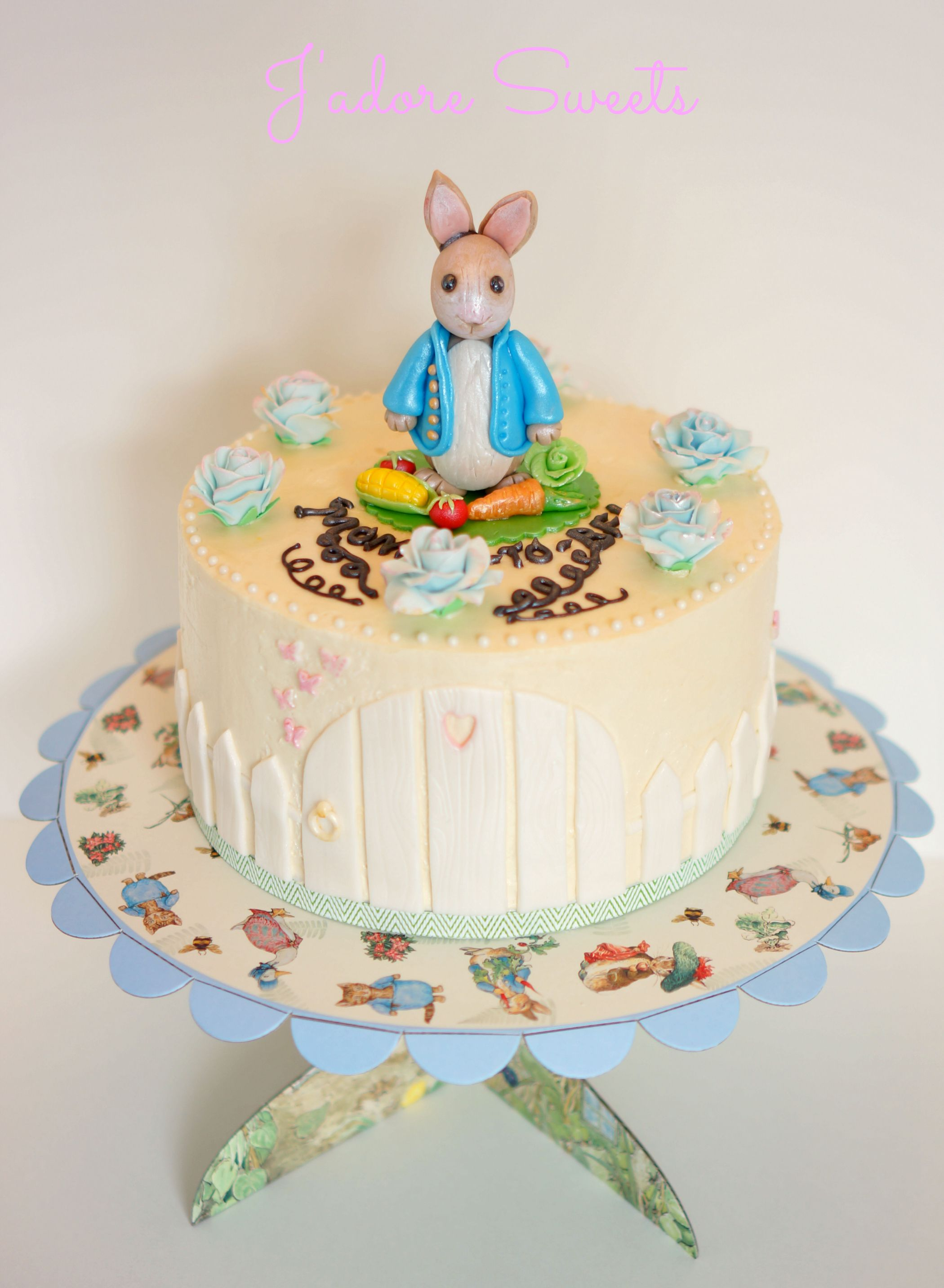 Baby Shower Peter Rabbit Cake Topper and details made with