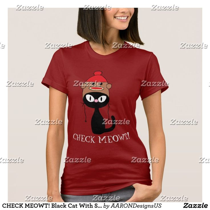 CHECK MEOWT! Black Cat With Sock Monkey Hat T-Shirt | Zazzle.com #sockmoneky