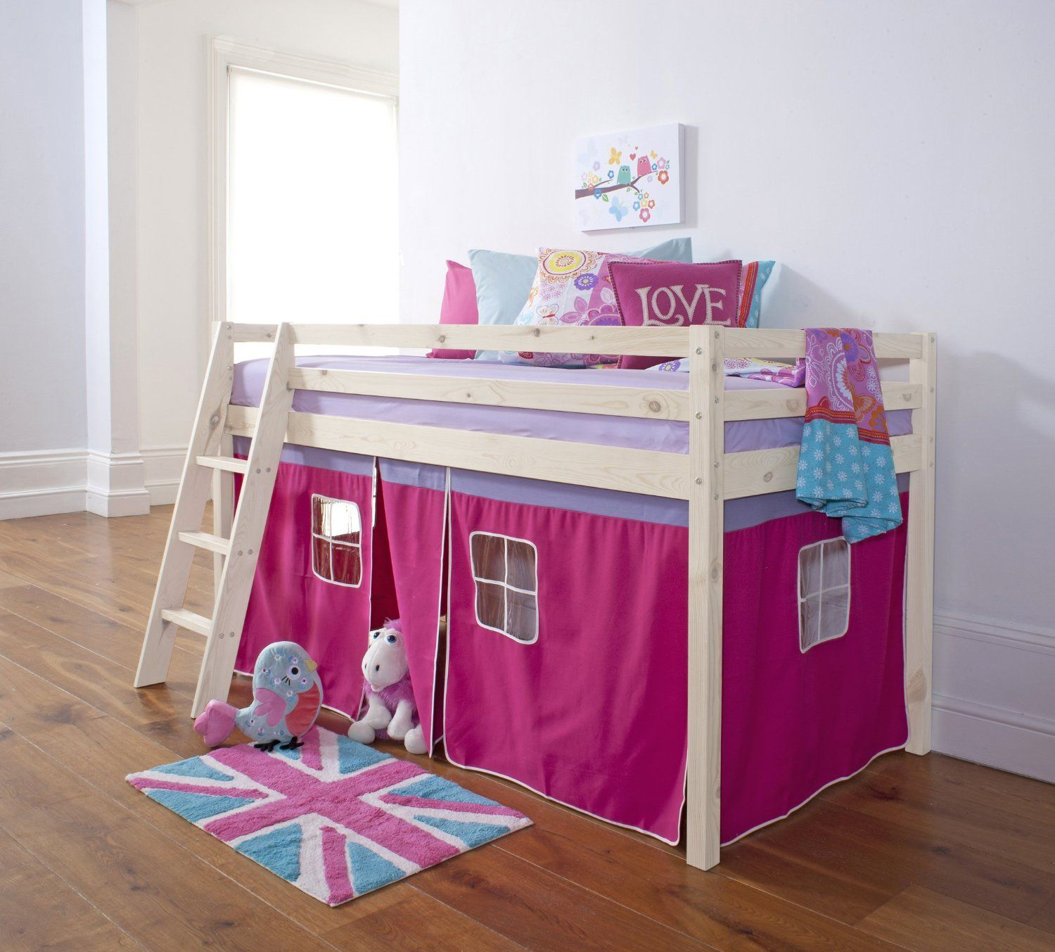 Cabin Bed Mid Sleeper Bunk with Tent Pink in Whitewash 5758WW PINK