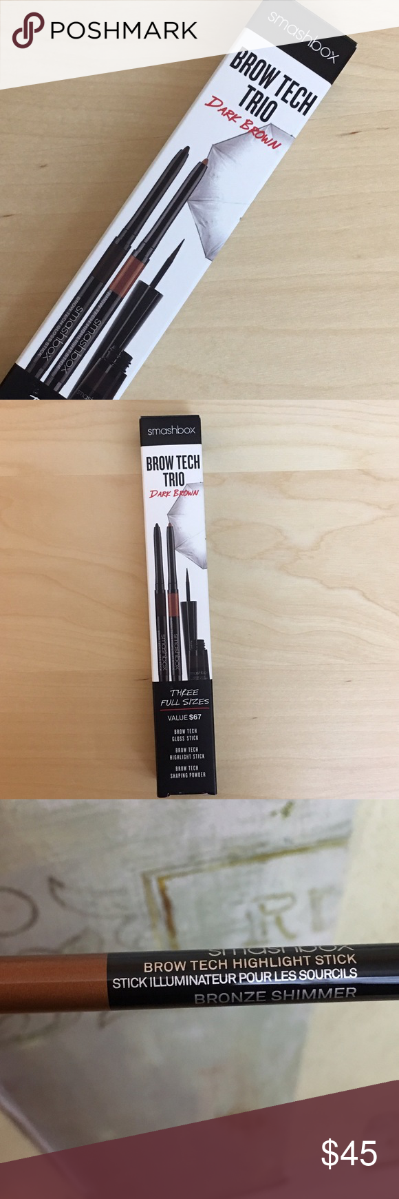 Smashbox Brow Trio Smash box dark brown eye brow trio kit