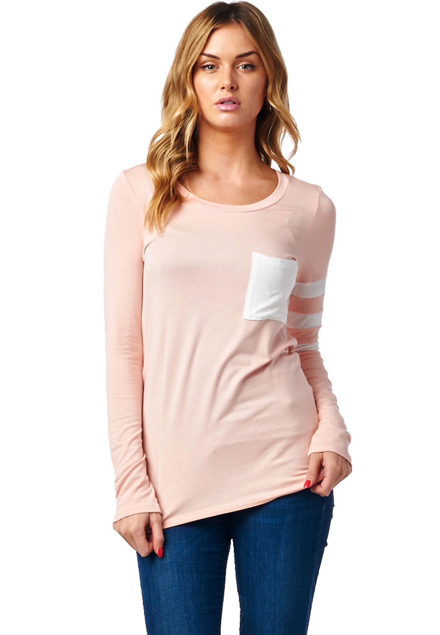 Long Sleeve Basic Top with Pocket on the front