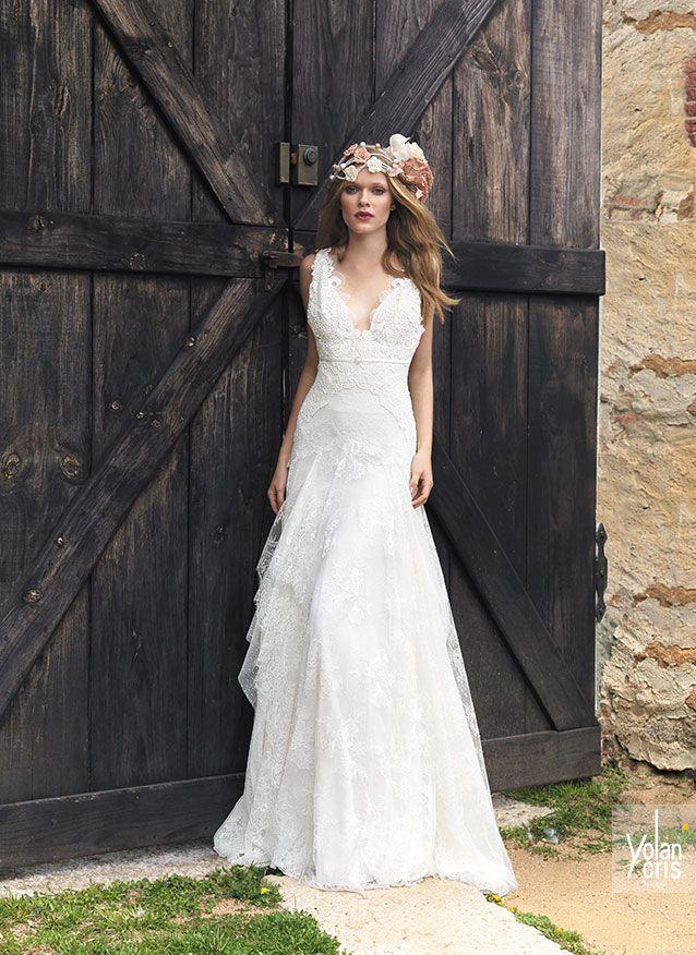 vestido novia bohemio con un bonito escote v, el estilo boho chic de