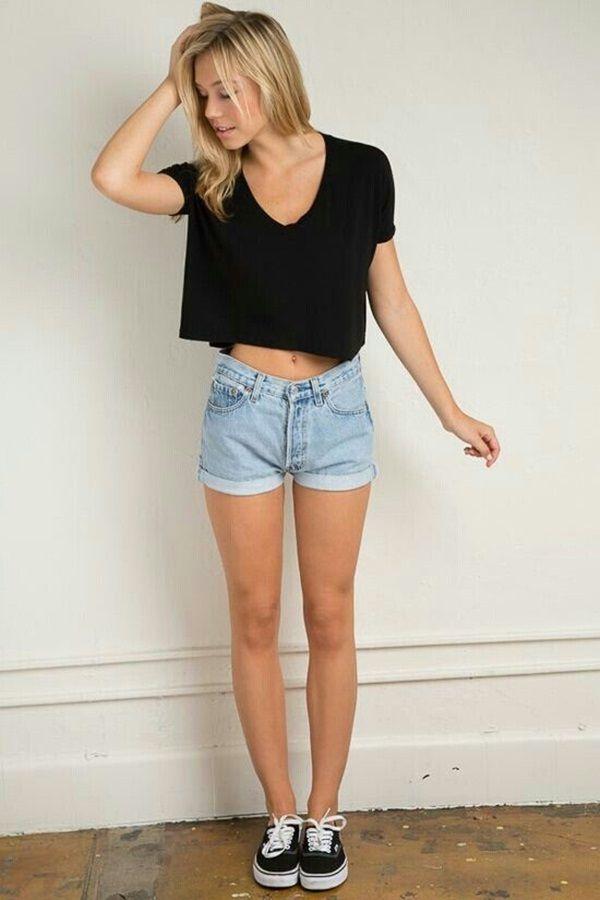 Women's Black Cropped Top, Light Blue Denim Shorts, Black Low Top Sneakers