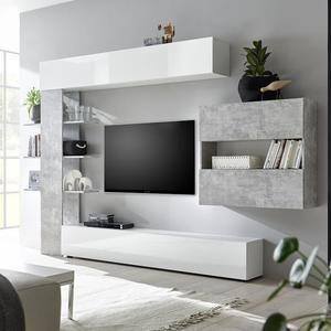Ensemble Meubles Tv Blanc Et Gris Design Fino 2 Gris L 257 X P 30 X H 187 Cm Tv Room Design Living Room Tv Cabinet Modern Tv Wall