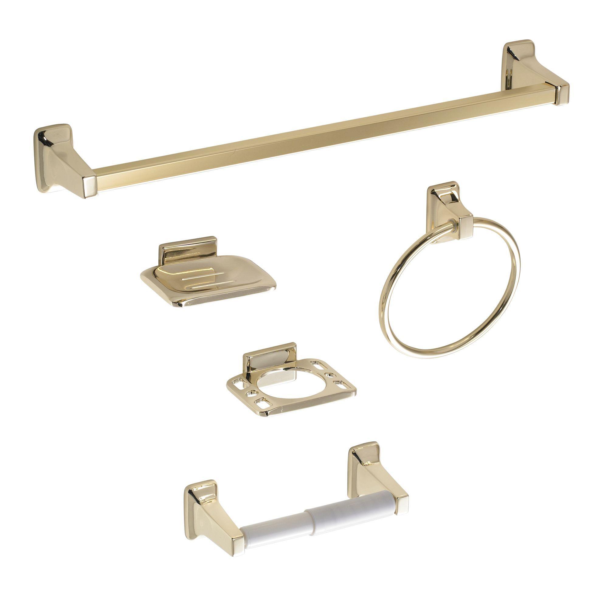B&Q Amalfi Gold Effect Zinc Alloy Bathroom Accessory Set, Pack of 5 ...