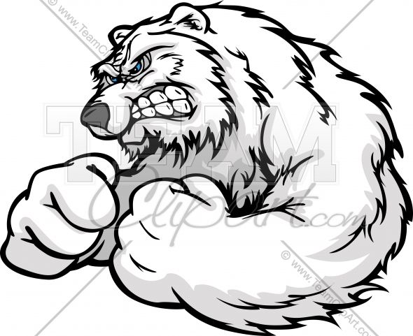 Angry Polar Bear with Muscular Arms In Wrestling Pose Clipart ...