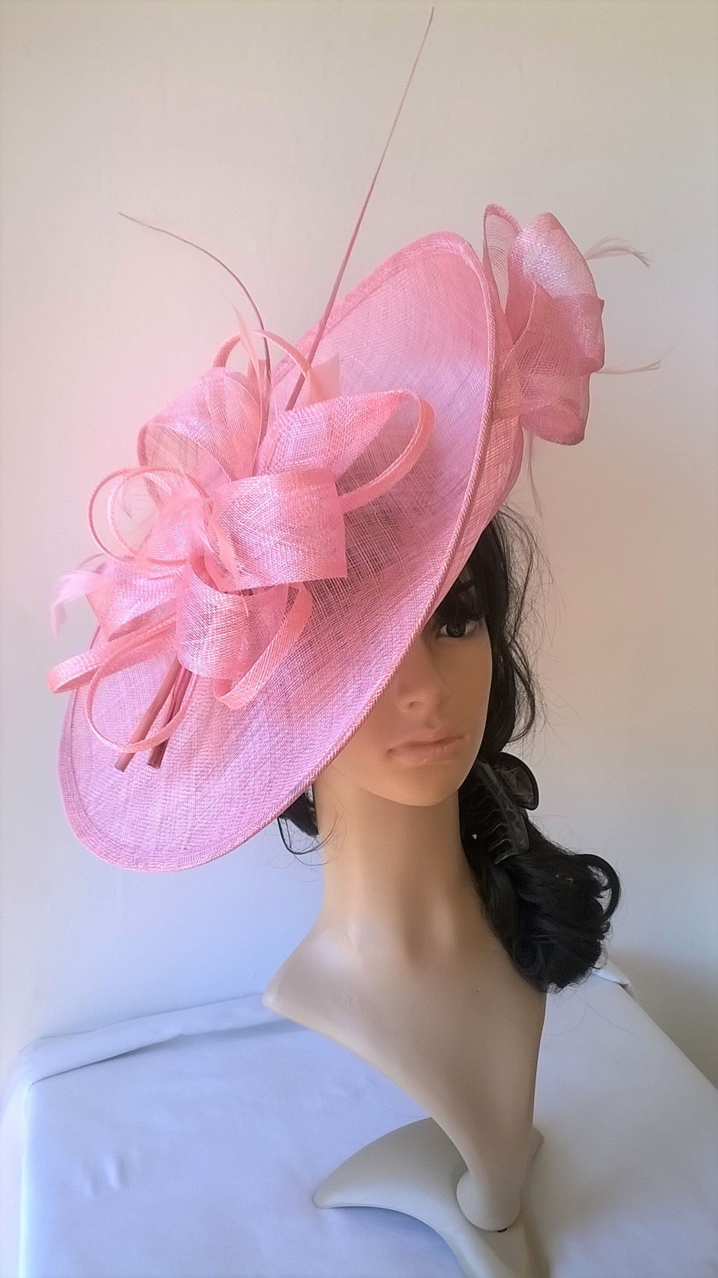 Sophia..Girly pink Hatinator..Stunning Sinamay Fascinator Hat on a ... 26de6899818