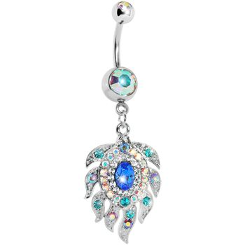 $13.99 #piercing #Bodycandy Aurora Double Gem Cubic Zirconia Peacock Feather Belly Ring