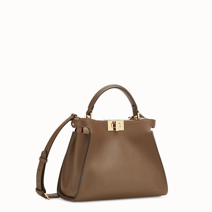 FENDI PEEKABOO ESSENTIAL - Brown leather bag - view 2 detail a5da9a7220e1a