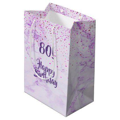 Happy 80th Birthday Elegant Violet Marble Confetti Medium Gift Bag
