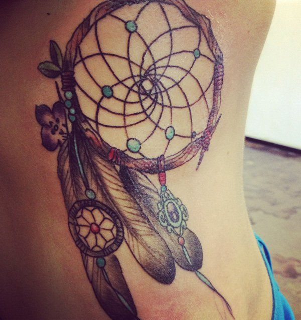 Dream Catcher Tattoo On Side Enchanting 60 Dreamcatcher Tattoo Designs For Women  Tattoo Side Dreamcatcher Design Decoration