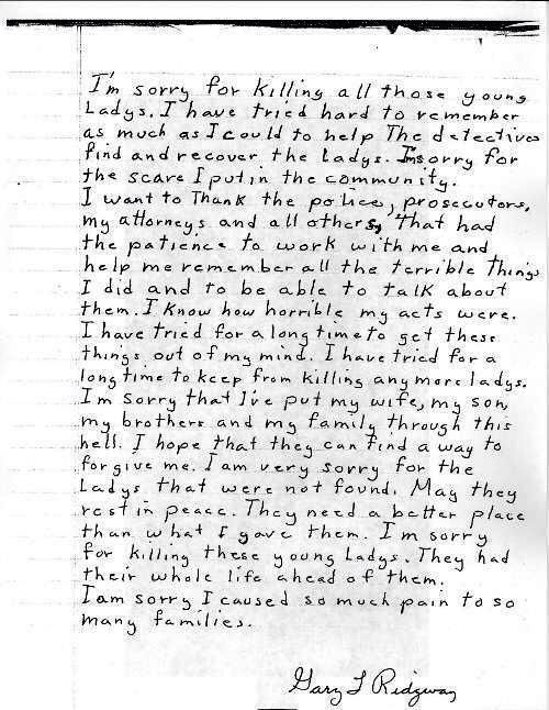 Letter from Gary Ridgway to families of victims Serial killer - victim statement