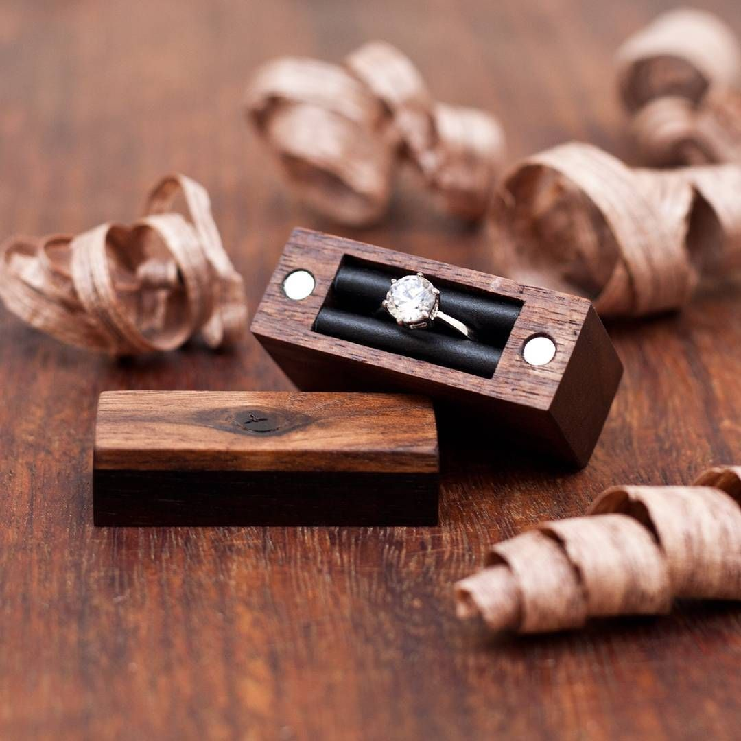 Engagement ring box made from walnut and ebony wood for Unique ring boxes