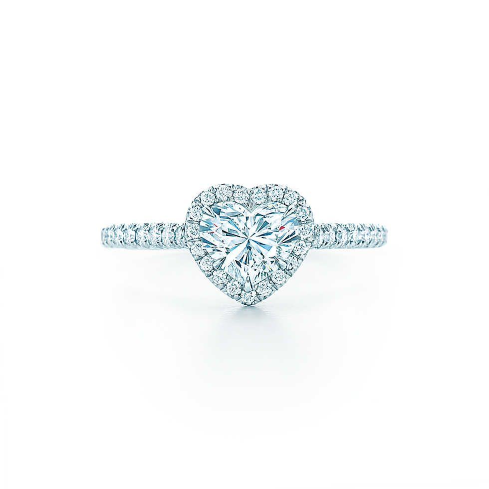 Tiffany Soleste 174 Heart Shape Halo Engagement Ring With