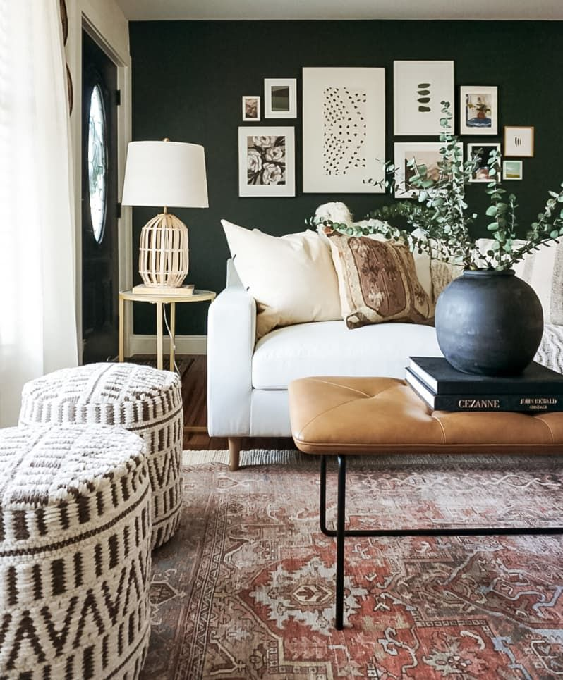 A Boring Builder Grade House Was Turned Into A Cozy Earthy Moody Home In 2020 Colonial House Family Room Design Colonial House Remodel
